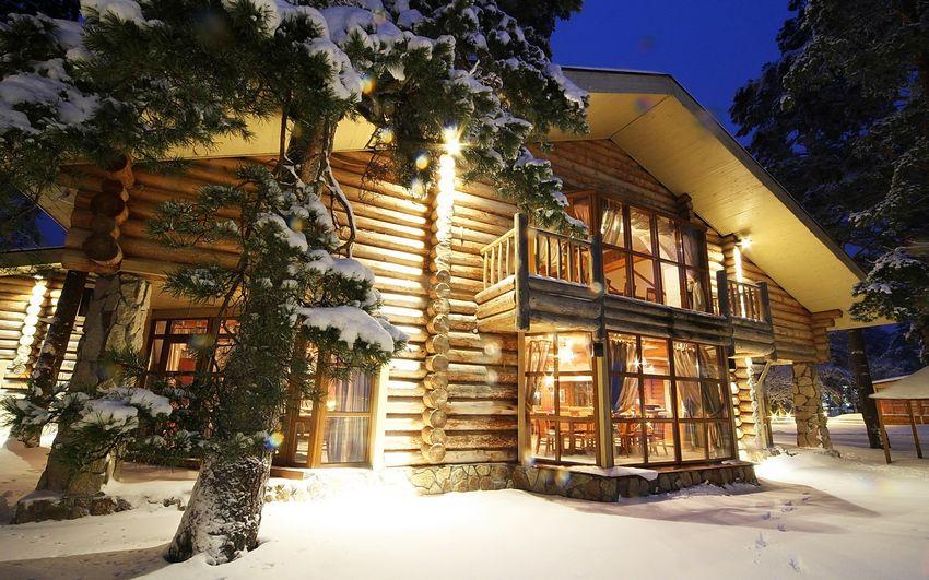 Новый год, домик в лесу, сказка, картинка