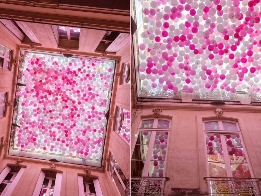 Beautiful Ceiling of Pink Balloons in a French Hotel (7 pics)
