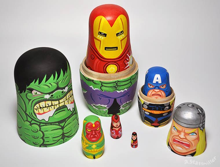 Pop Culture - The awesome hand painted nesting dolls of Andy Stattmiller