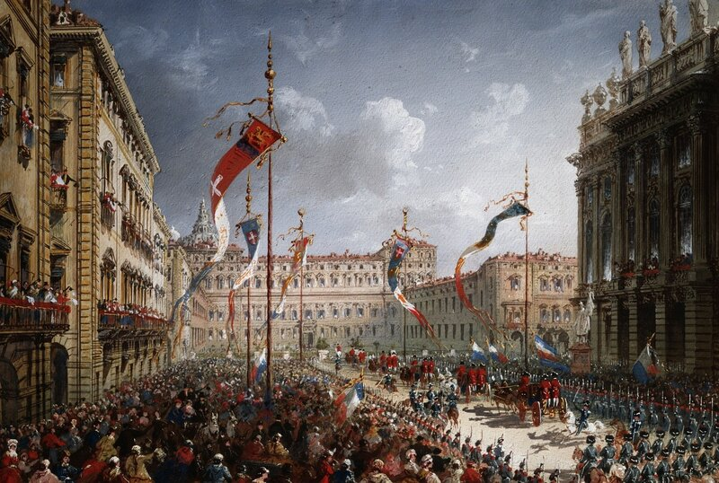 corbis - mascheroni - <Arrival in Turin of the Lombard-Veneto Delegation with the Plebiscite Vote on the Unification of Italy> by 19th Century Italian School