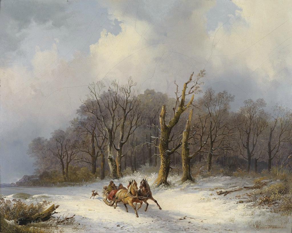 Winterlandschaft mit Pferdeschlitten