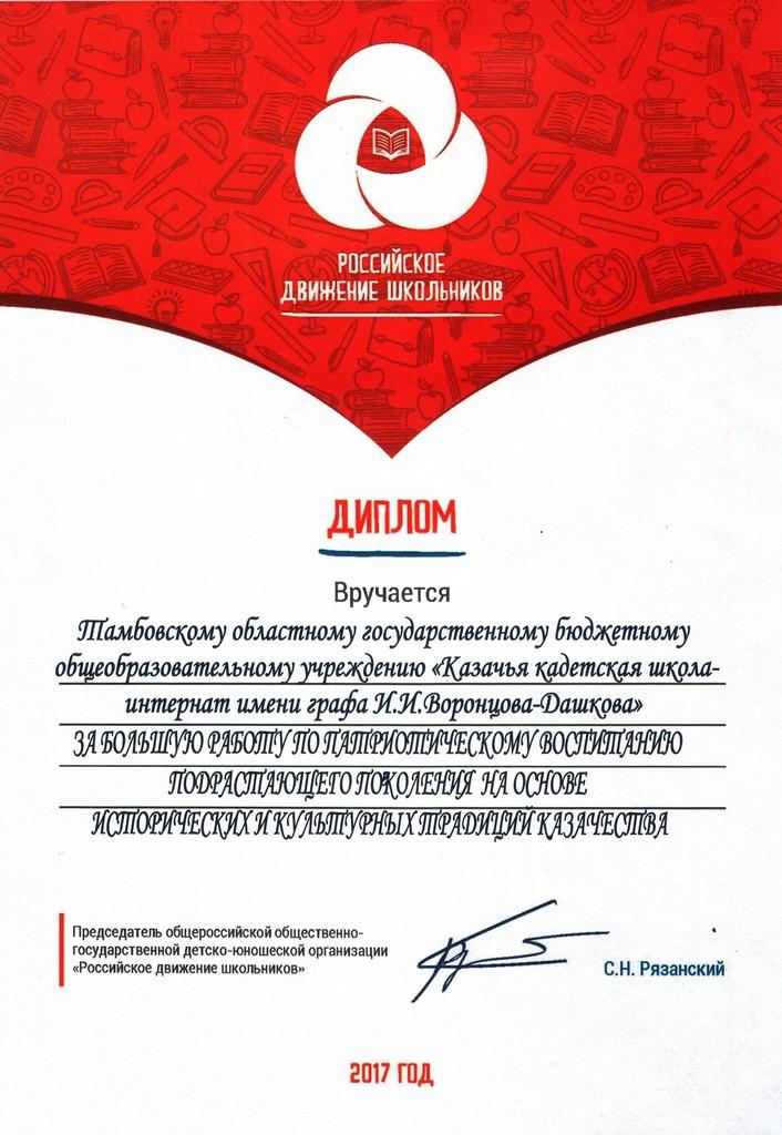 Диплом Российского движения школьников