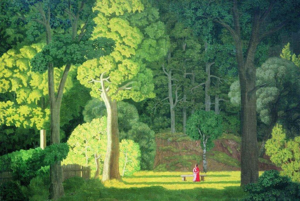 Пейзаж с женской фигурой в красном. Первая половина 1910-хХолст, масло. 91 x 130 смТульский областной художественный музей