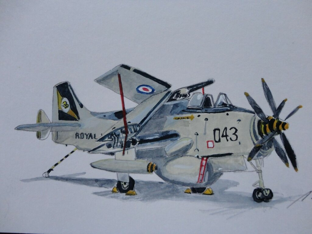 Small 8 x 6 inches w-c sketch of Fairey Gannet AEW3worked with them in the 1960's.