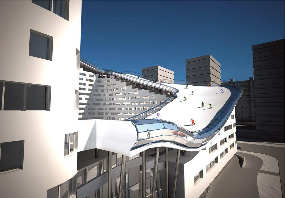 3. Длина спуска на крыше составит 326 метров. В отличие от горнолыжных трасс на природных склонах, ф