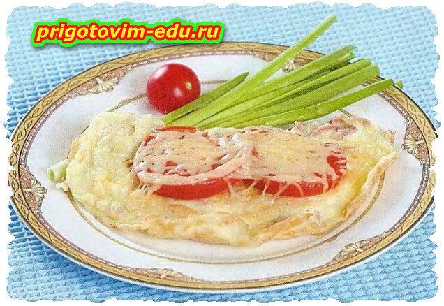 Омлет с сыром и ветчиной в СВЧ печи