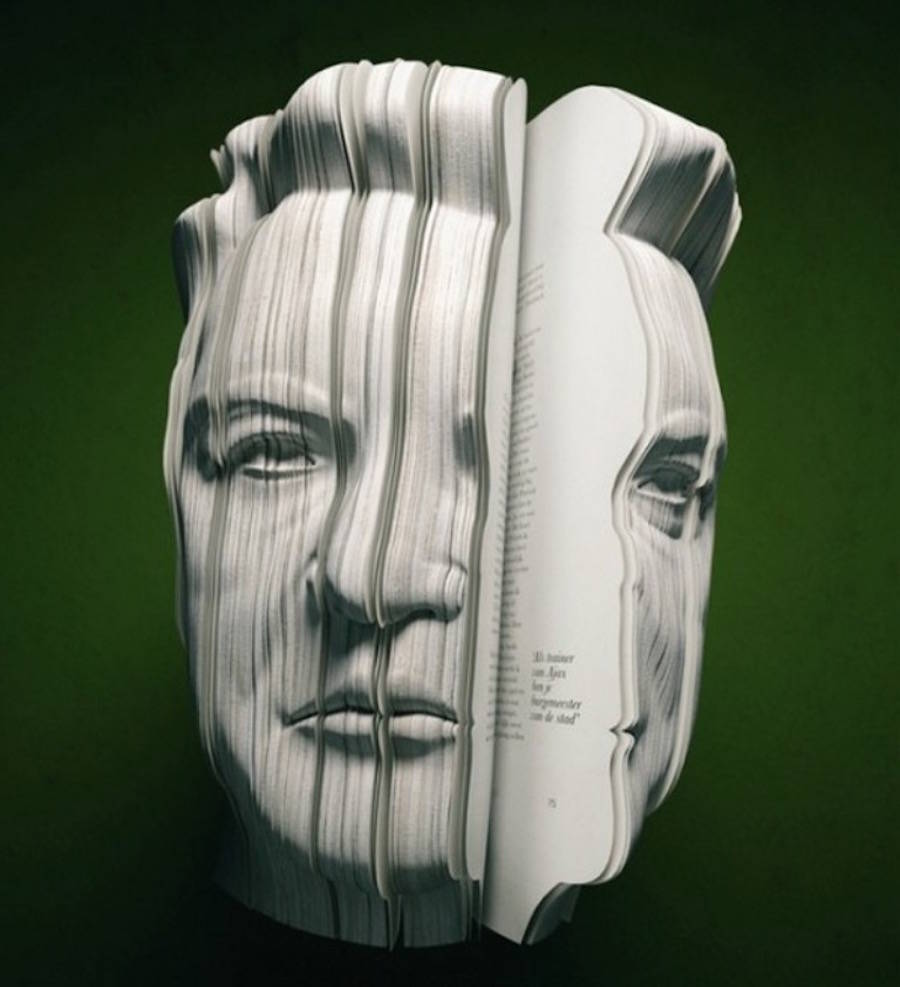 Realistic Book Sculptures Portraying Famous Personalities
