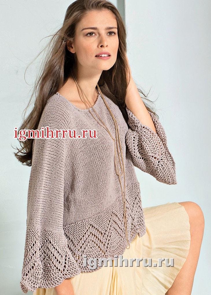 Шелковый бежевый пуловер с ажурными планками, связанными поперек. Вязание спицами