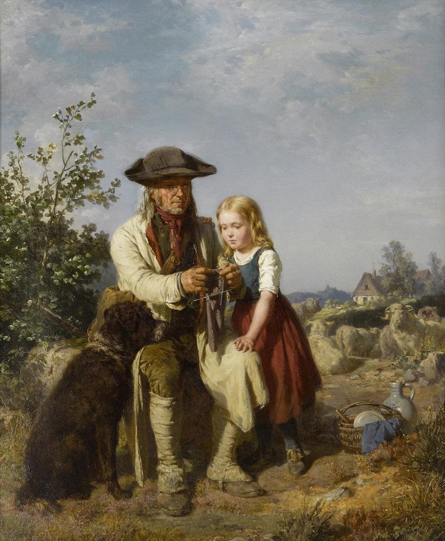 """Ernst Bosch (German, 1834–1917) """"Shepherd and his Granddaughter"""" Пастух и внучка"""