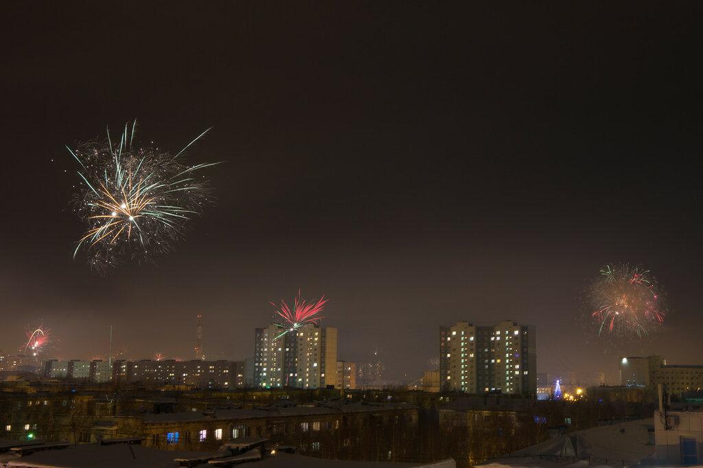 Фейерверк в новогоднюю ночь в Нижневартовск