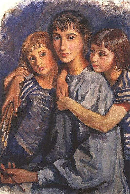 Автопортрет с дочерьми. 1921