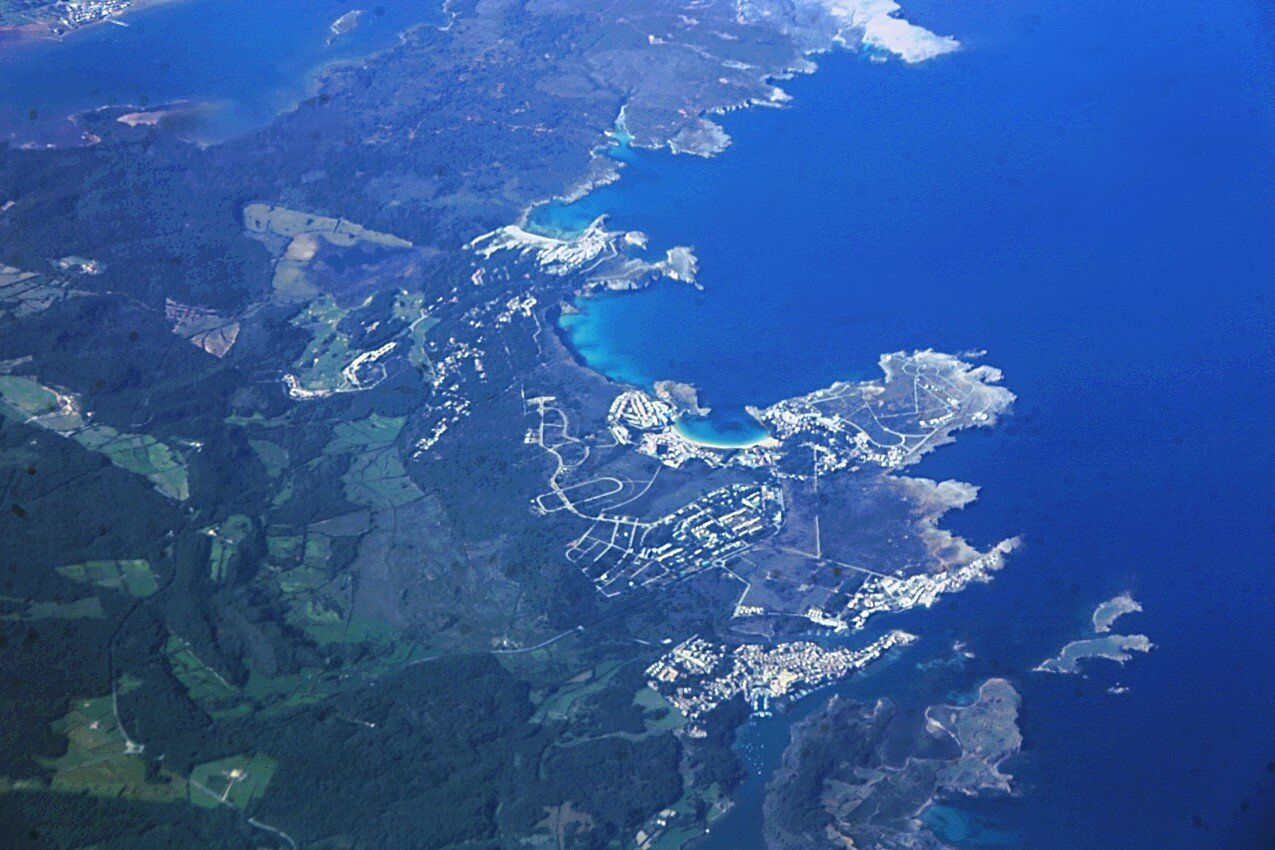 Menorca, the resort town of Coves Noves. Aerial view