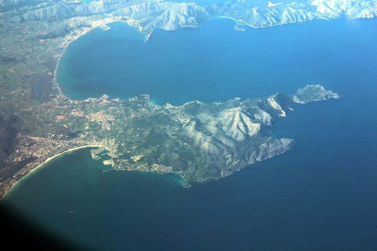Majorca, Bay of Pollensa. Aerial view