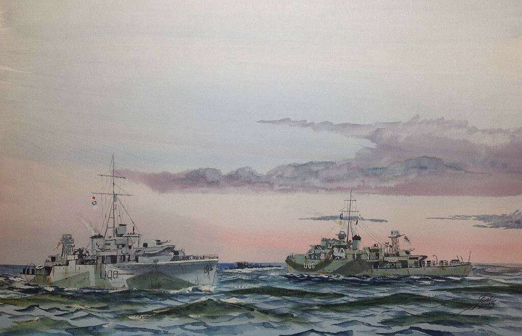 Sinking of U-264. L to R HMS Woodpecker, U-264 , HMS Starling. Part of Captain 'Johnny' Walker's 2nd Escort Group.