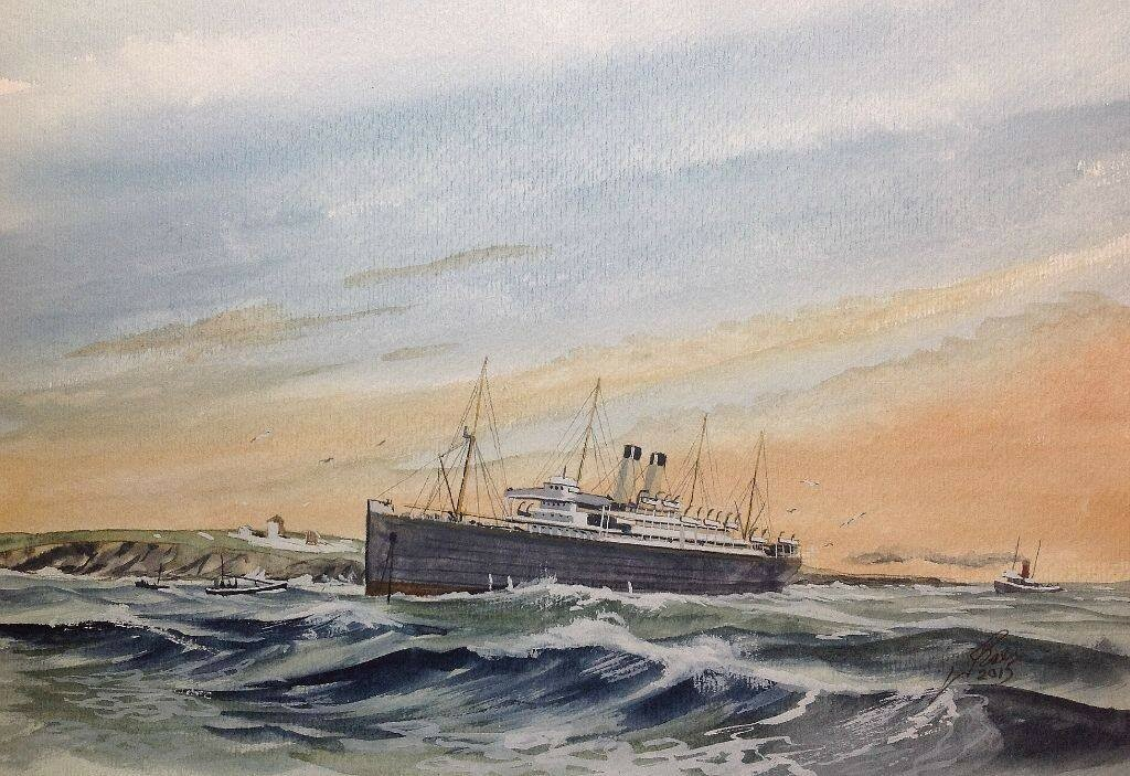 RMS Celtic aground on 10th Dec 1928 at Roche Point Near Queenstown. She was broken up for scrap where she lay.