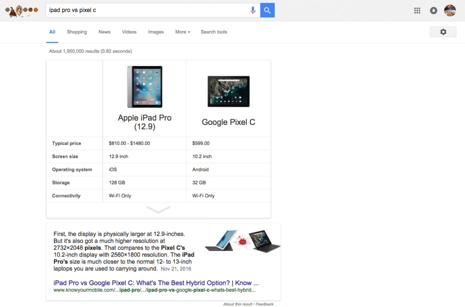 Впоисковой выдаче Google появился виджет для сравнения товаров