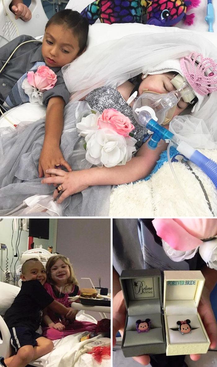 Пятилетняя девочка, умирающая от муковисцидоза, хотела выйти замуж за своего лучшего друга. Им устро
