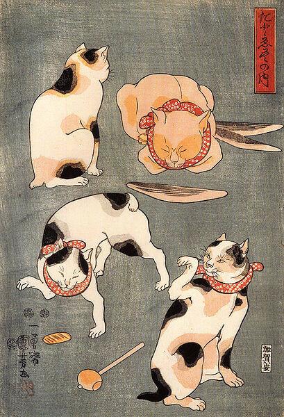 409px-Kuniyoshi_Utagawa,_For_cats_in_different_poses.jpg