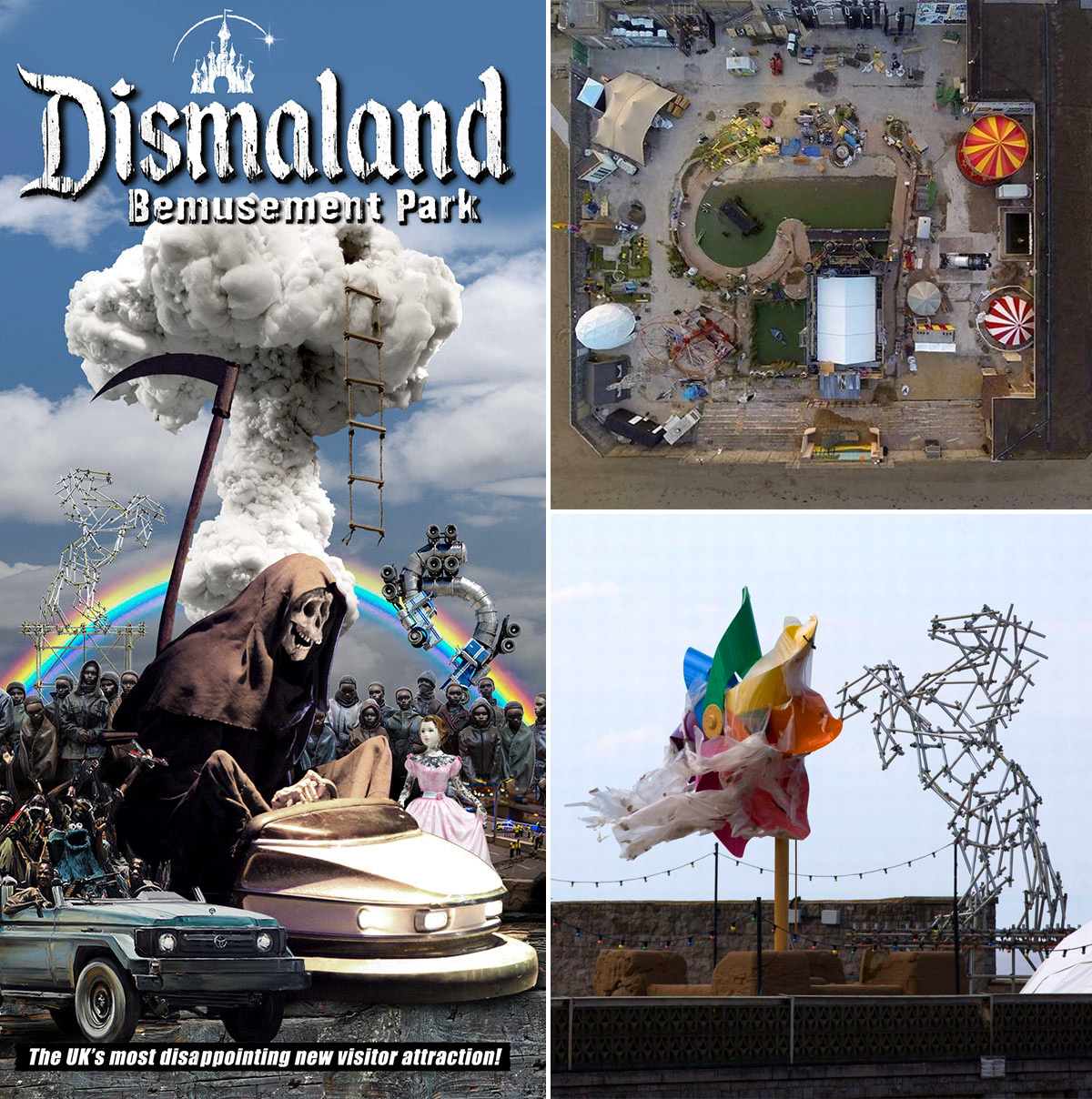 Dismaland brochure / Park aerial view courtesy Upfest / Photo of construction The event has all the