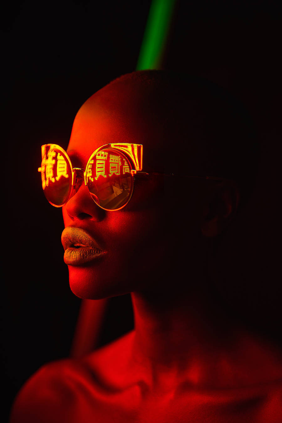 Pop Portraits with Neon Light Reflected in Sunglasses