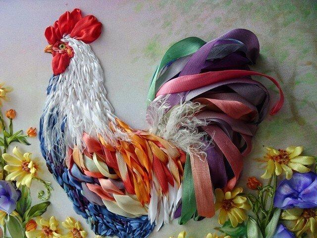 Вышивка лентами! Петух - символ 2017 года