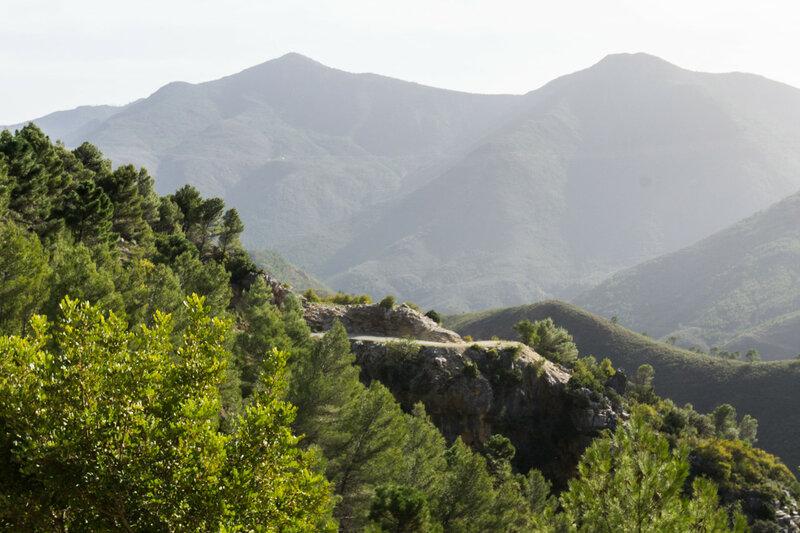 дорога в горах Sierra de las Nieves в андалусии, испания