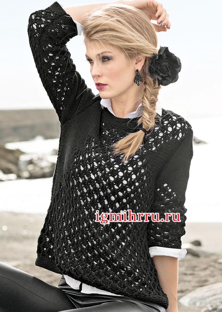 Черный хлопковый пуловер с ажурным узором. Вязание спицами