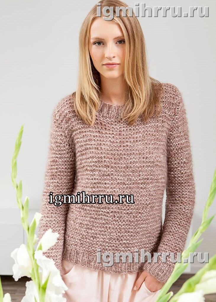 В стиле минимализма. Мохеровый пуловер в пастельных тонах. Вязание спицами