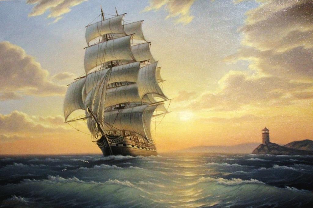 Море бездонное, тихо манящее, нежный прибоя звон, и корабли, в