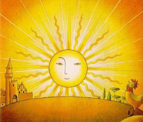 Открытки. 3 мая День Солнца! Солнце встает от крика петуха!