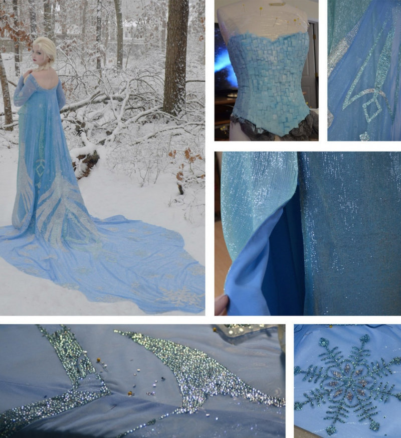Это платье девушка создавала около 250часов, 170 изних ушло наукрашение наряда.
