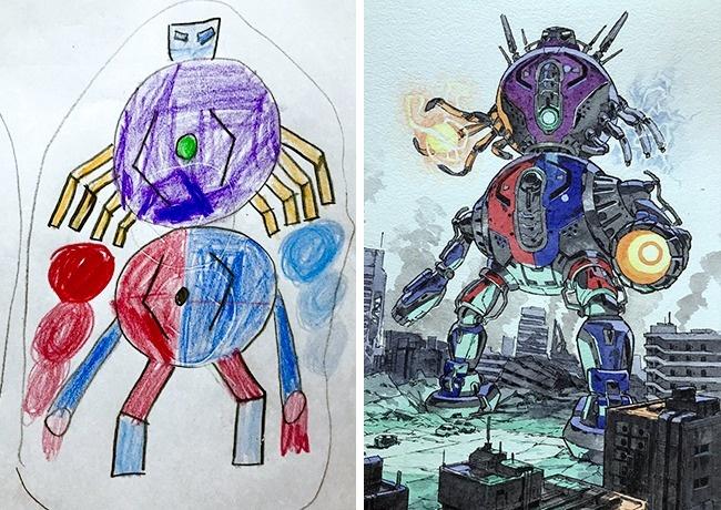 Художник мастерски оживляет каракули сыновей, превращая ихвшикарных персонажей