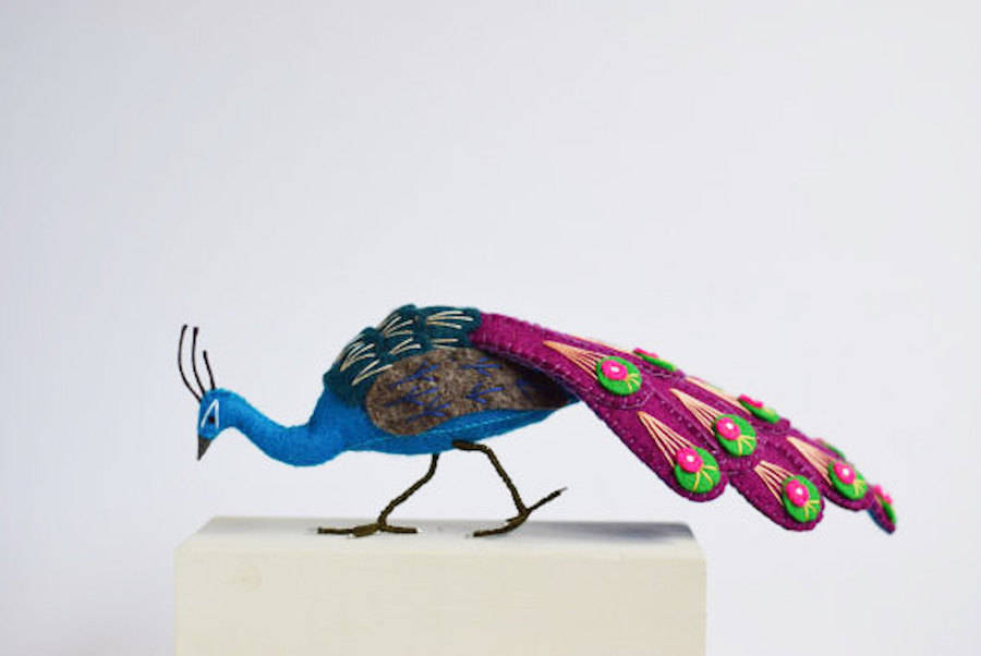 Colorful Handcrafted Peacocks by Jill Ffrench
