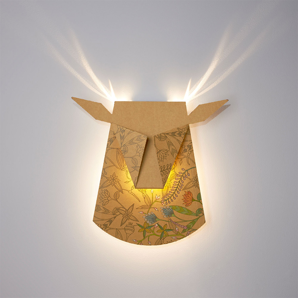 Folded Aluminum Lamps Project Feathers and Antlers When Illuminated