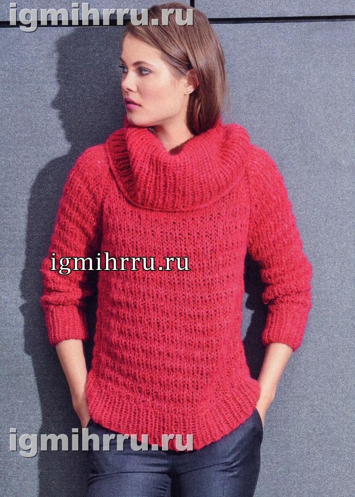 Красный свитер со структурными резинками. Вязание спицами