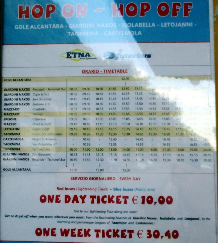 Taormina. Schedule of the tourist route Hop on-Hop off
