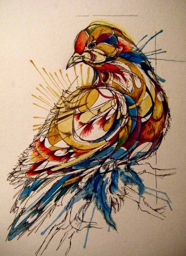Birds In Water Color by Abby Diamond