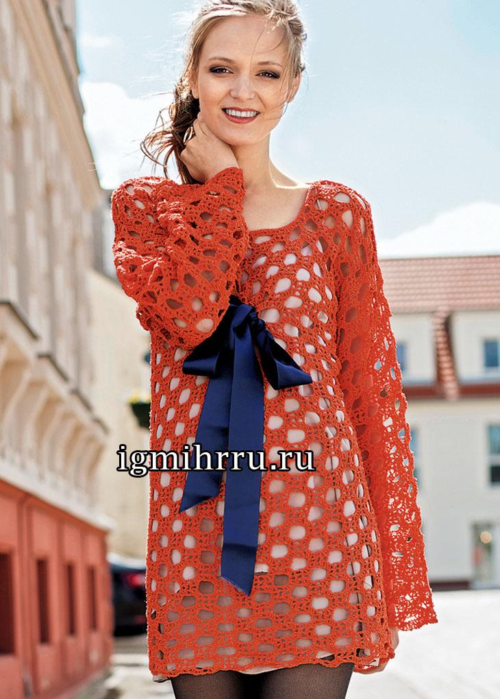 Ажурное мини-платье с атласным бантом. Вязание крючком