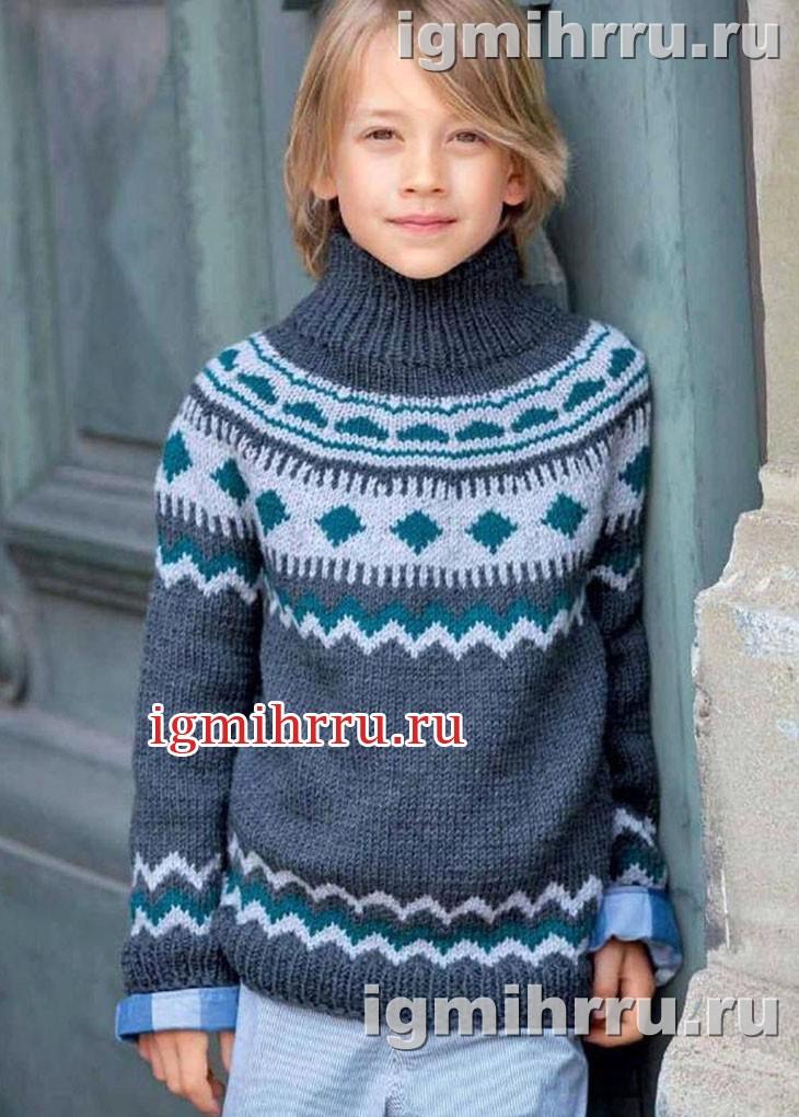 Для мальчика 6-10 лет. Теплый жаккардовый свитер. Вязание спицами