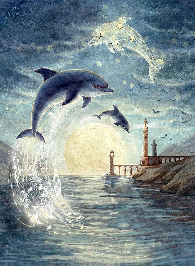 Картинки с дельфинами для декупажа