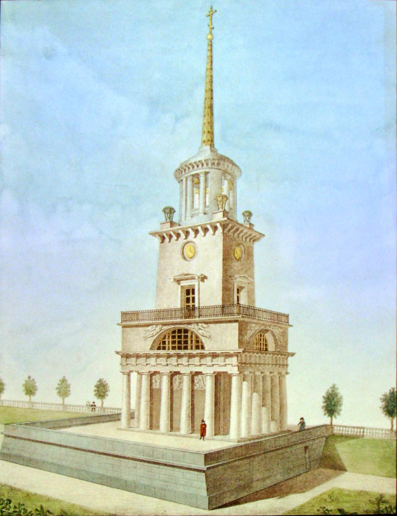 8. Вид Колокольни у Грузинского Собора внизу коей теплая Церковь. Рисовал на камне Архитектор Семенов 1822-го.