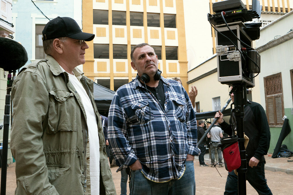 Director Robert Zemeckis and Producer Graham King on the set of Allied from Paramount Pictures.