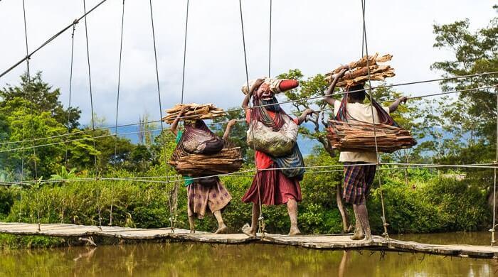 В папуасских племенах всю основную работу выполняют женщины. Очень часто можно увидеть картину,