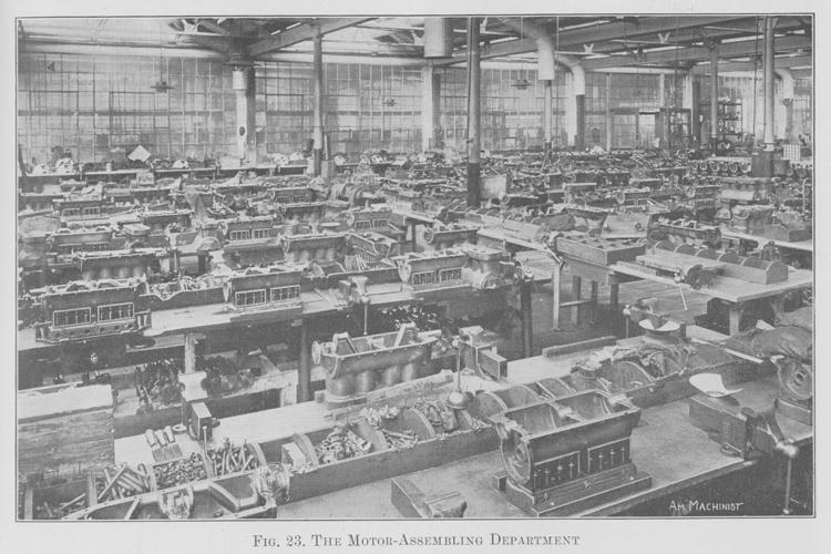 Конвейер по производству моторов в Хайленд-Парке, 1913