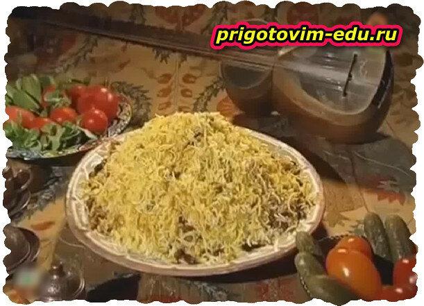 Ришта плов из лапши с фасолью.(HD) Видео рецепт