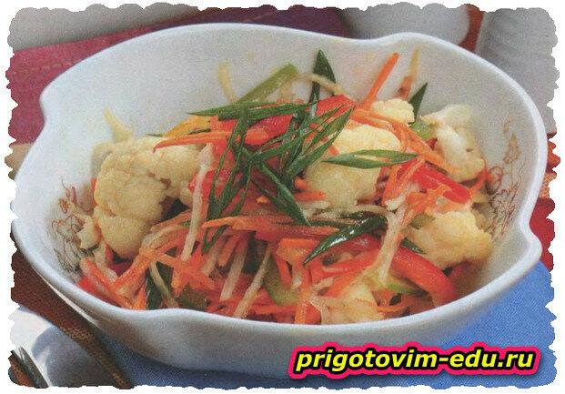 Салат из цветной капусты с болгарским перцем