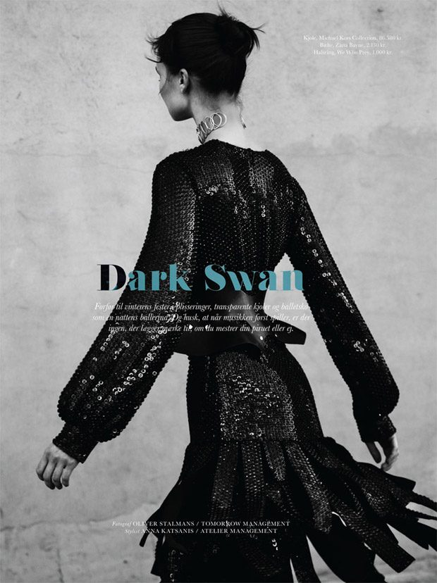 Vasilisa Pavlova in Dark Swan for Elle Denmark November 2016 Issue