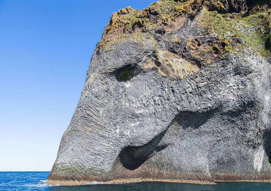 Naturally Erupted Elephant Rock in Iceland