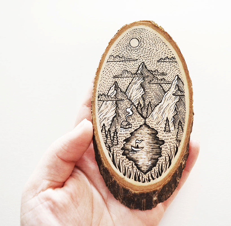 Scenic Illustrations on Wood Slices by Meni Chatzipanagiotou (8 pics)