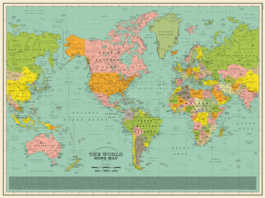 Clever World Map With Song Titles as Cities & Countries